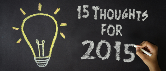 15 thoughts for 2015 on blackboard with lightbulb